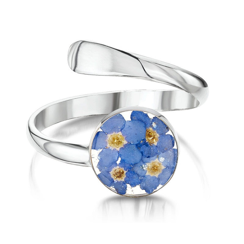 Shrieking Violet Real Flower Forget Me Not Silver Ring FRA-01 - Hollins and Hollinshead