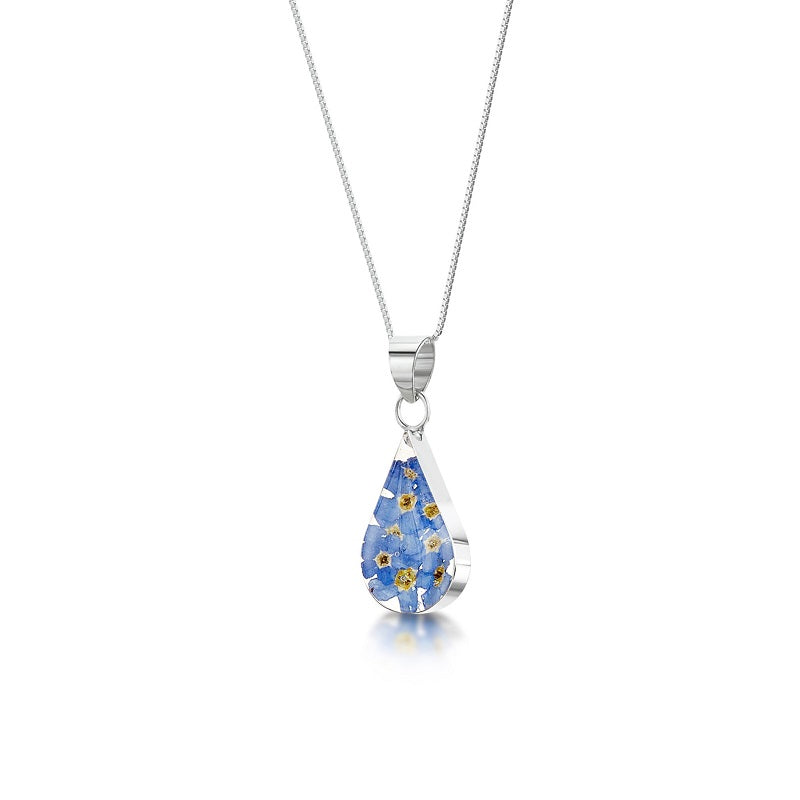 Shrieking Violet Real Flower Forget Me Not Silver Pendant FP02 - Hollins and Hollinshead