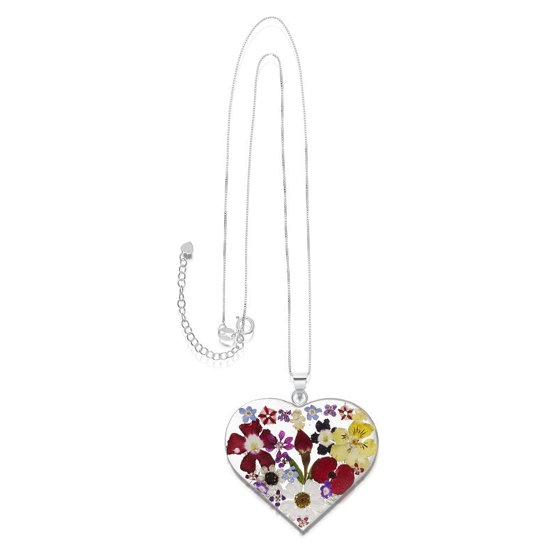 Shrieking Violet Real Flower Heart Silver Pendant MP08 - Hollins and Hollinshead