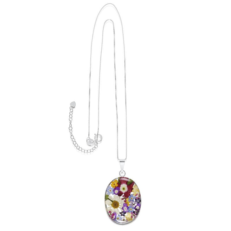 Shrieking Violet Real Flower Oval Silver Pendant MP18 - Hollins and Hollinshead