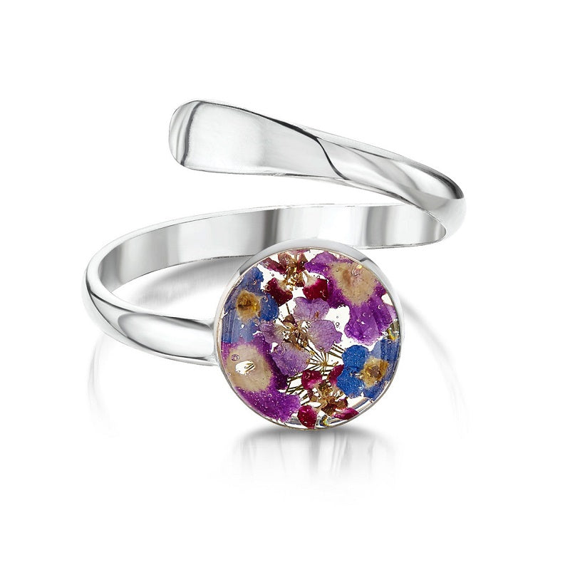 Shrieking Violet Real Flower Purple Haze Silver Ring BLRA-01 - Hollins and Hollinshead