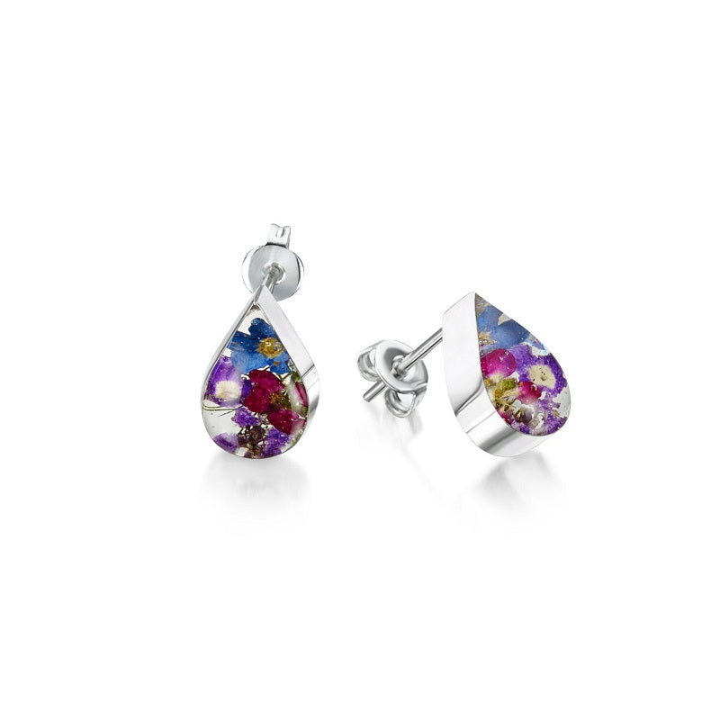 Shrieking Violet Real Flower Purple Haze Stud Earrings BLE03 - Hollins and Hollinshead