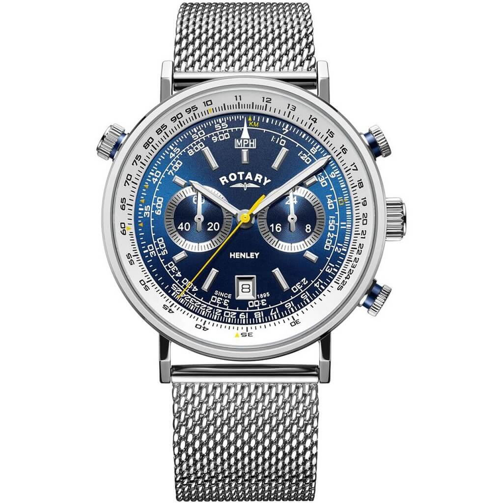 Rotary Henley Chronograph Steel Mens Watch GB05235/05 - Hollins and Hollinshead