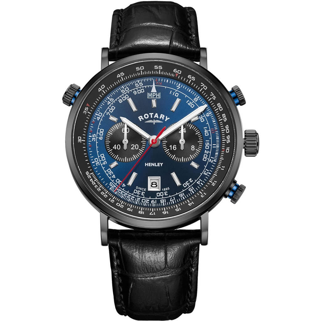 Rotary Henley Chronograph Black IP Mens Watch GS05238/05 - Hollins and Hollinshead