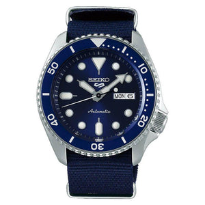 Seiko 5 Automatic Blue Dial Mens Canvas Strap Watch SRPD51K2 - Hollins and Hollinshead