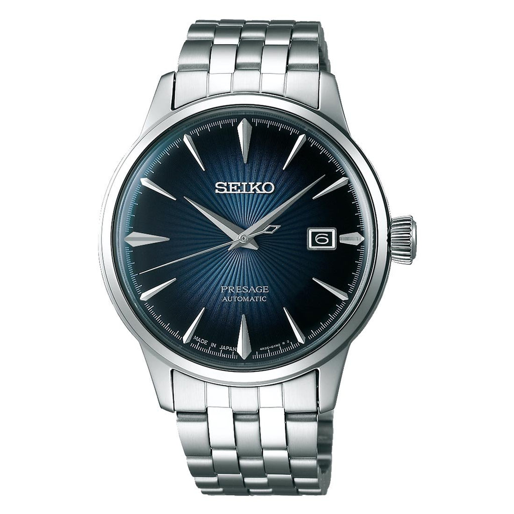Seiko Presage Automatic Blue Face Cocktail Mens Watch SRPB41J1 - Hollins and Hollinshead