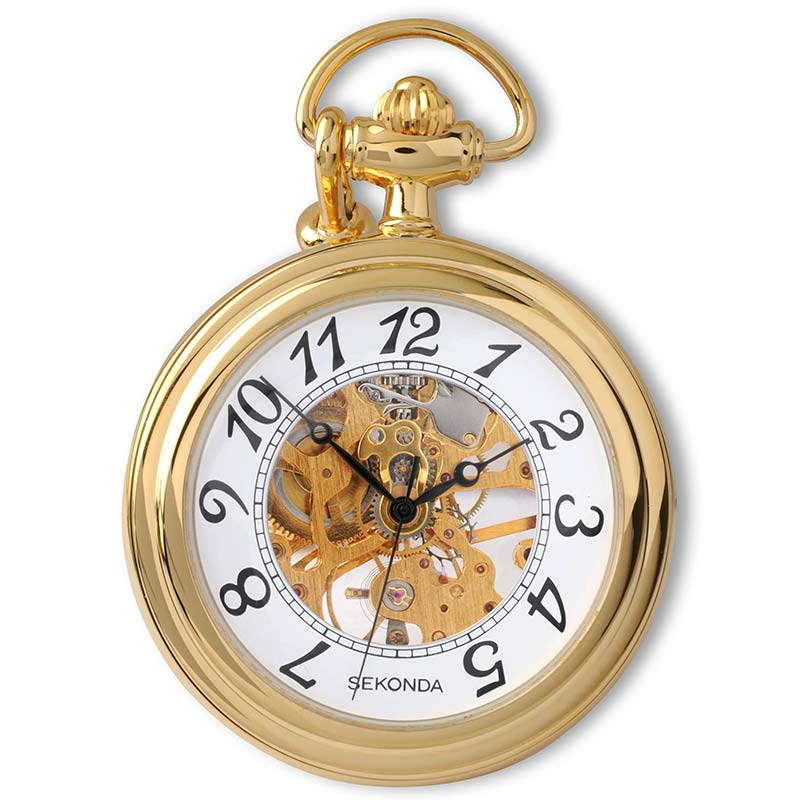 Sekonda Open Face Mechanical Pocket Watch With Chain 1110 - Hollins and Hollinshead