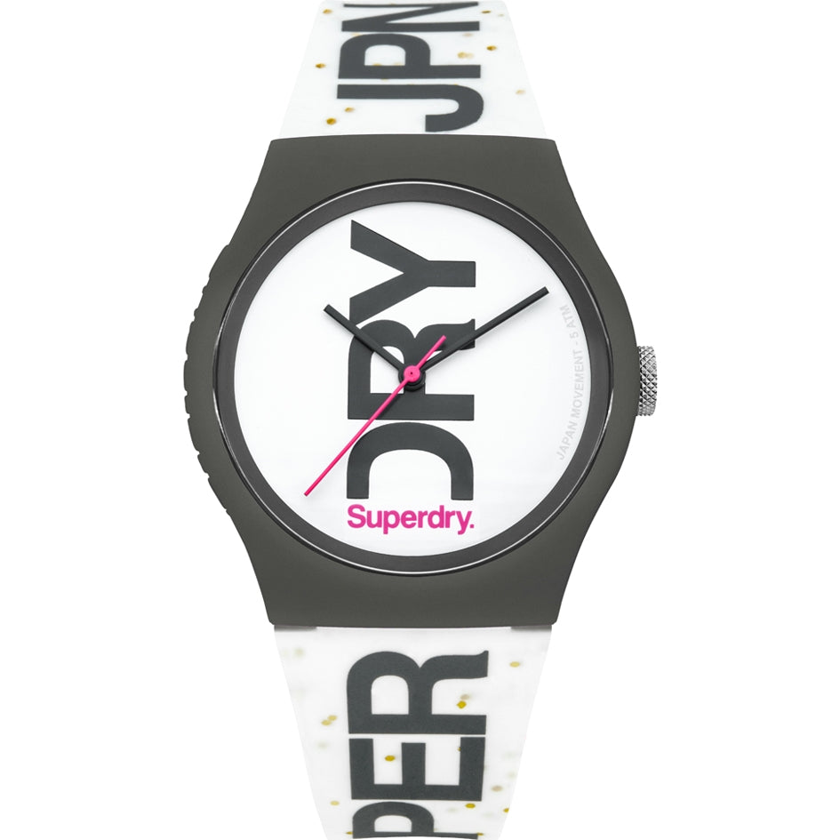 Superdry Urban White Silicone Glitter Strap Unisex Watch SYL189WB - Hollins and Hollinshead