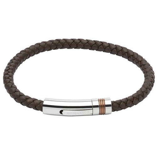 Unique Brown Leather Mens Bracelet B345DB21 - Hollins and Hollinshead