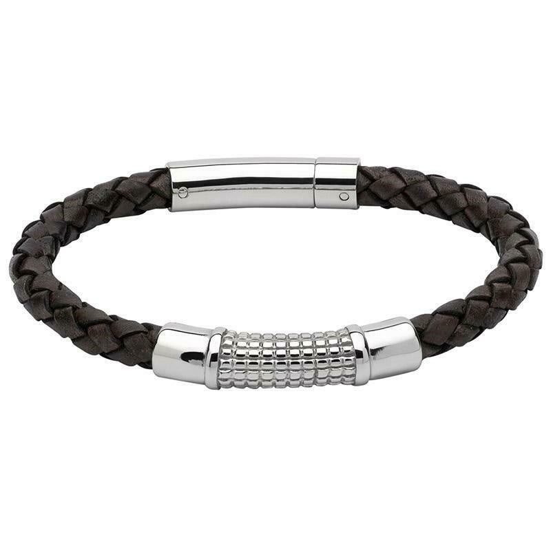 Unique Brown Leather Mens Bracelet B352ADB21 - Hollins and Hollinshead