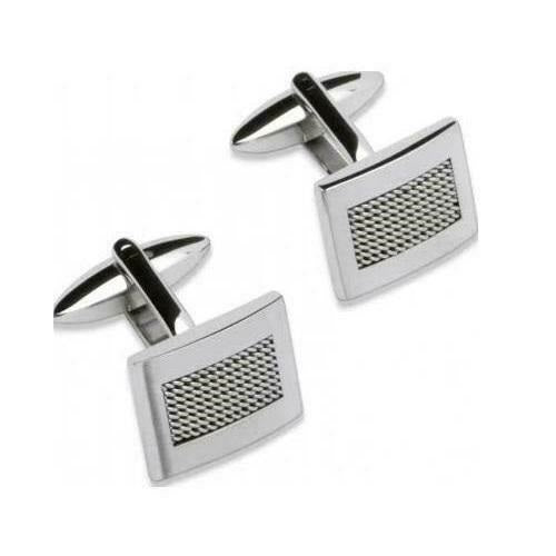 Unique Stainless Steel Textured Cufflinks QC-103 - Hollins and Hollinshead