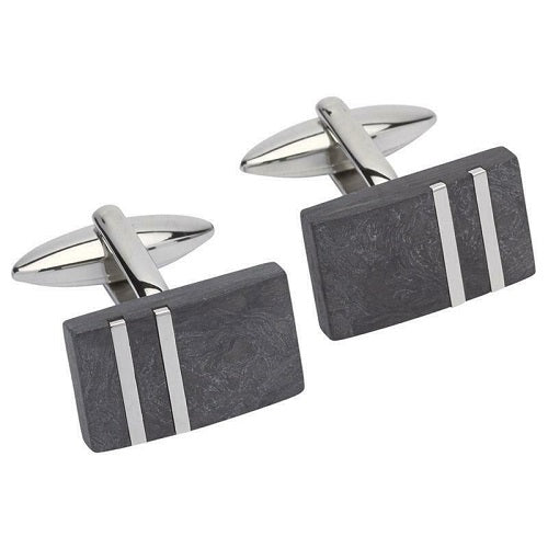 Unique Carbon Composite Stainless Steel Cufflinks QC-216 - Hollins and Hollinshead