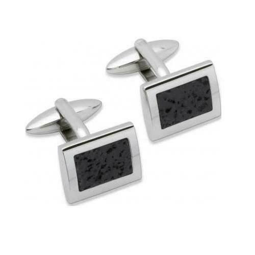 Unique Stainless Steel Lava Rock Cufflinks QC-96 - Hollins and Hollinshead