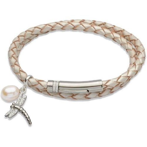 Unique Pearlescent Leather Wrap Around Ladies Bracelet B267PE - Hollins and Hollinshead