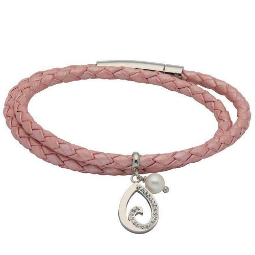 Unique Pink Leather Wrap Around Ladies Bracelet B408MP - Hollins and Hollinshead