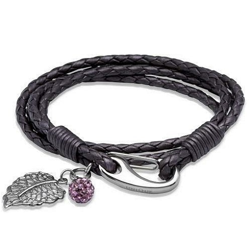 Unique Purple Leather Wrap Around Ladies Bracelet B230BE - Hollins and Hollinshead