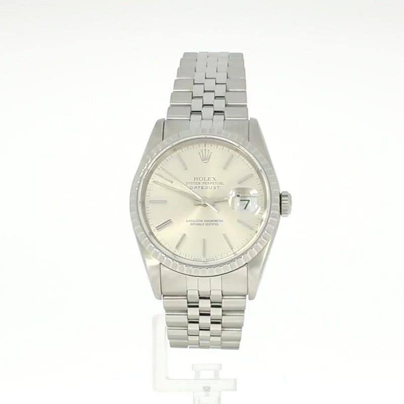 Pre Owned Rolex Oyster Perpetual Datejust 36 Steel Mens Watch 166220 RW0350 (1991)