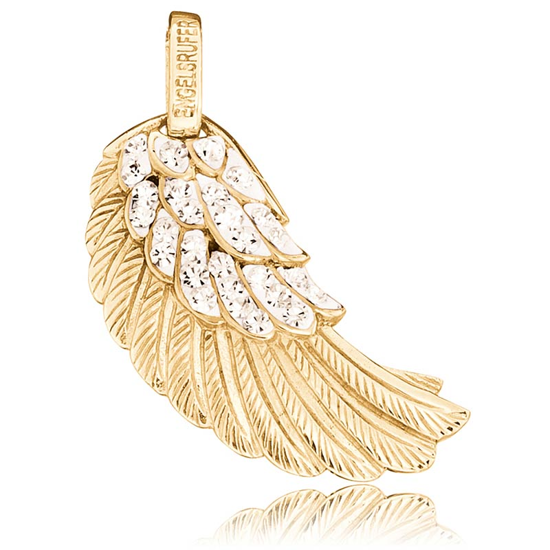 Engelsrufer Gold Plated Crystal Angel Wing Pendant ERW-M-01-ZI-G - Hollins and Hollinshead