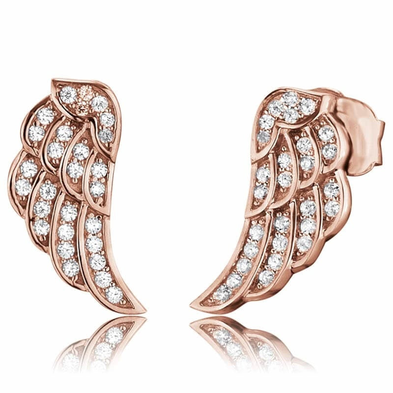 Engelsrufer Rose Gold Plated Silver Wing Stud Earrings ERE-LILWING-ZI-STR - Hollins and Hollinshead