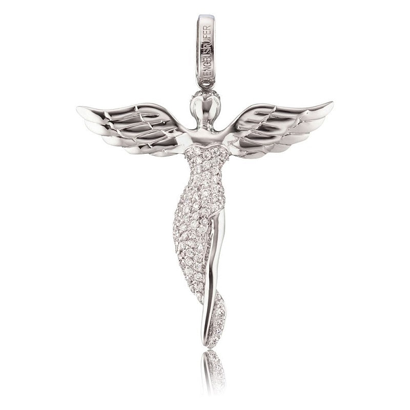 Engelsrufer Silver Stone Set Angel Pendant ERP-Angel-S - Hollins and Hollinshead