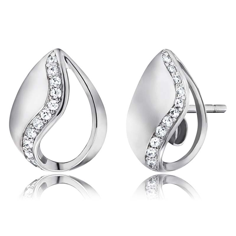 Engelsrufer Tear of Heaven Silver Stud Earrings ERE-TEAR-ZI-ST - Hollins and Hollinshead