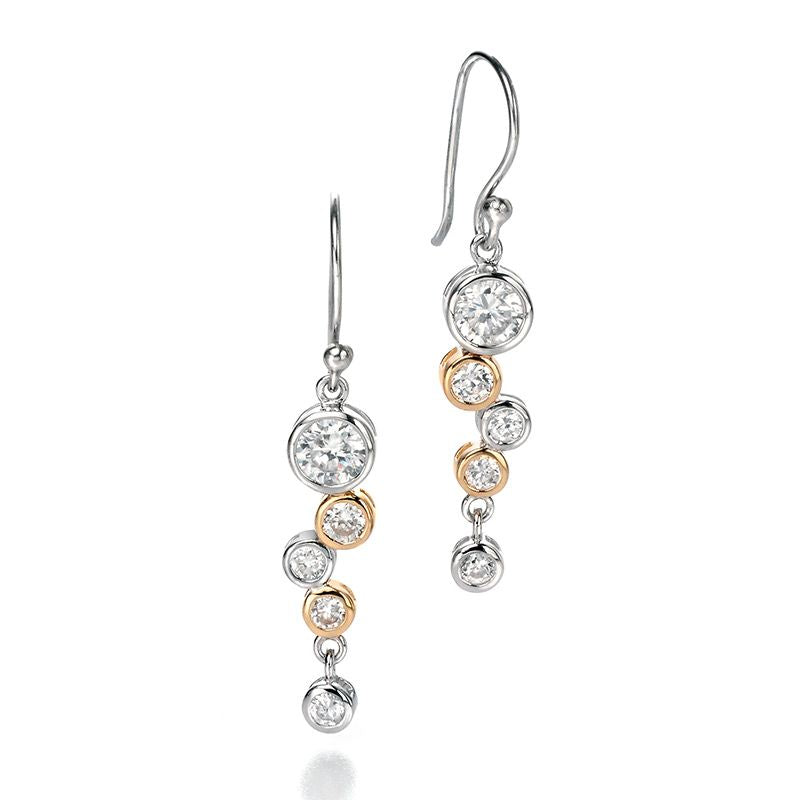 Fiorelli Silver CZ Two Tone Waterfall Drop Earrings E4128C - Hollins and Hollinshead