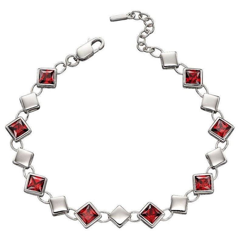 Fiorelli Silver Red Cubic Zirconia Bracelet B5217R - Hollins and Hollinshead