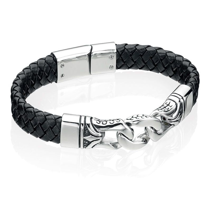 Fred Bennett Black Leather Mens Bracelet B3897 - Hollins and Hollinshead