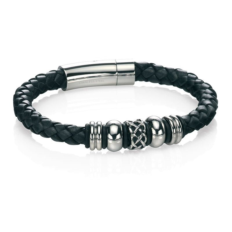 Fred Bennett Black Leather Mens Bracelet B4211 - Hollins and Hollinshead