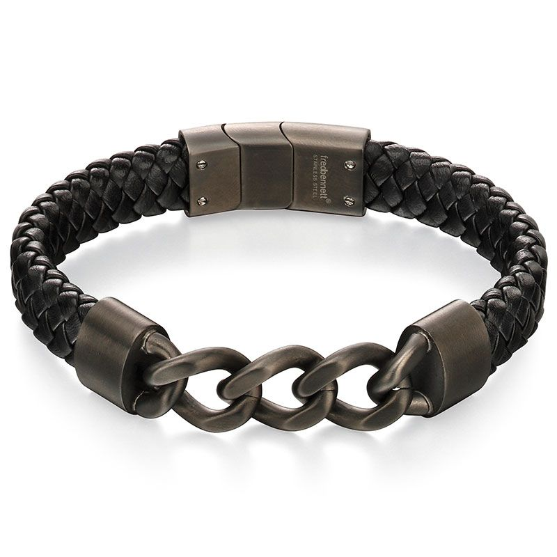 Fred Bennett Black Leather Mens Bracelet B4981 - Hollins and Hollinshead