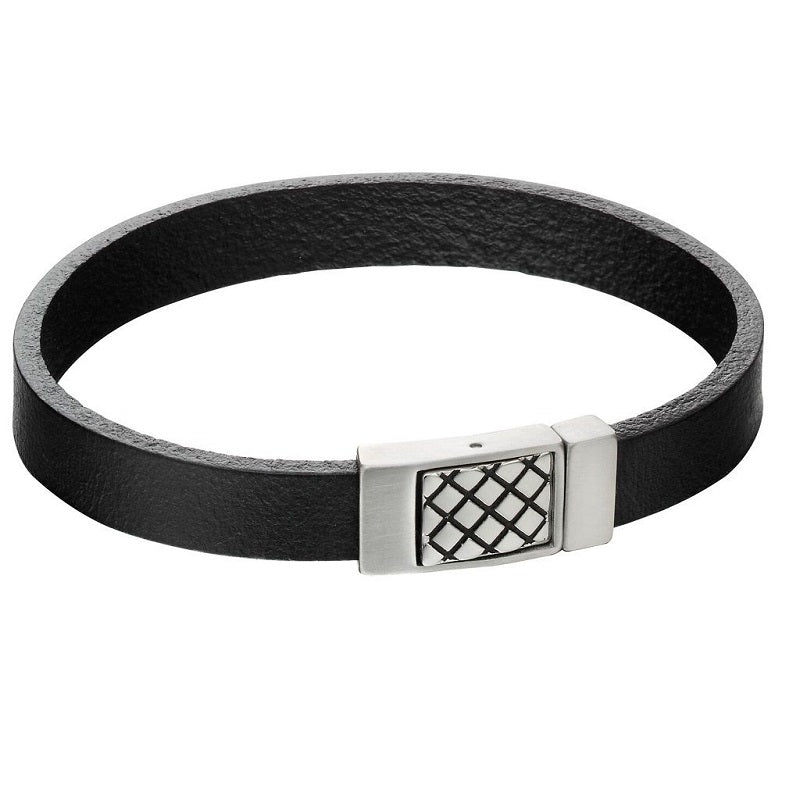 Fred Bennett Black Leather Mens Bracelet B5164 - Hollins and Hollinshead