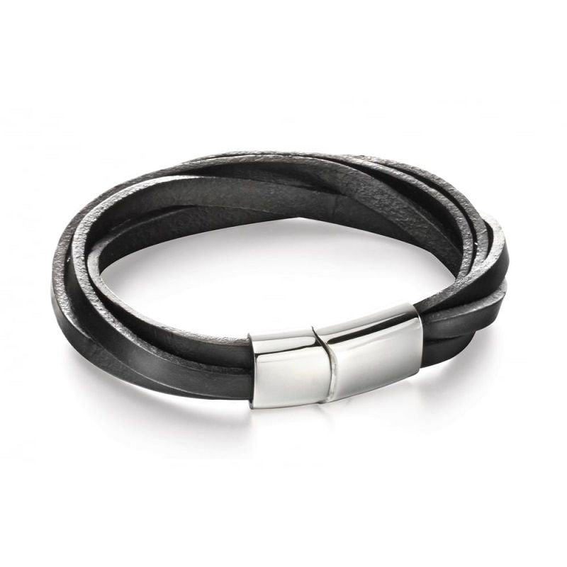 Fred Bennett Multi Strand Black Leather Mens Bracelet B5055 - Hollins and Hollinshead