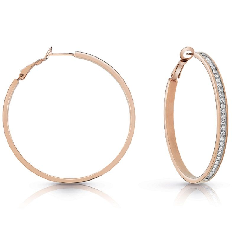 Guess All Around Guess Rose Gold Plated Hoop Earrings UBE28096 - Hollins and Hollinshead