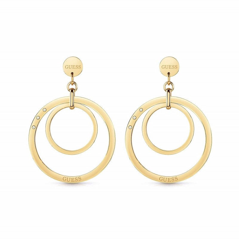 Guess Eternal Circles Large Drop Earrings UBE29023 - Hollins and Hollinshead