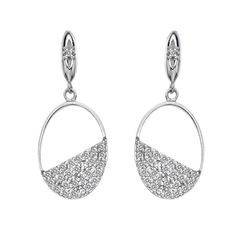 Hot Diamonds Horizon Oval Silver Drop Earrings DE622 - Hollins and Hollinshead