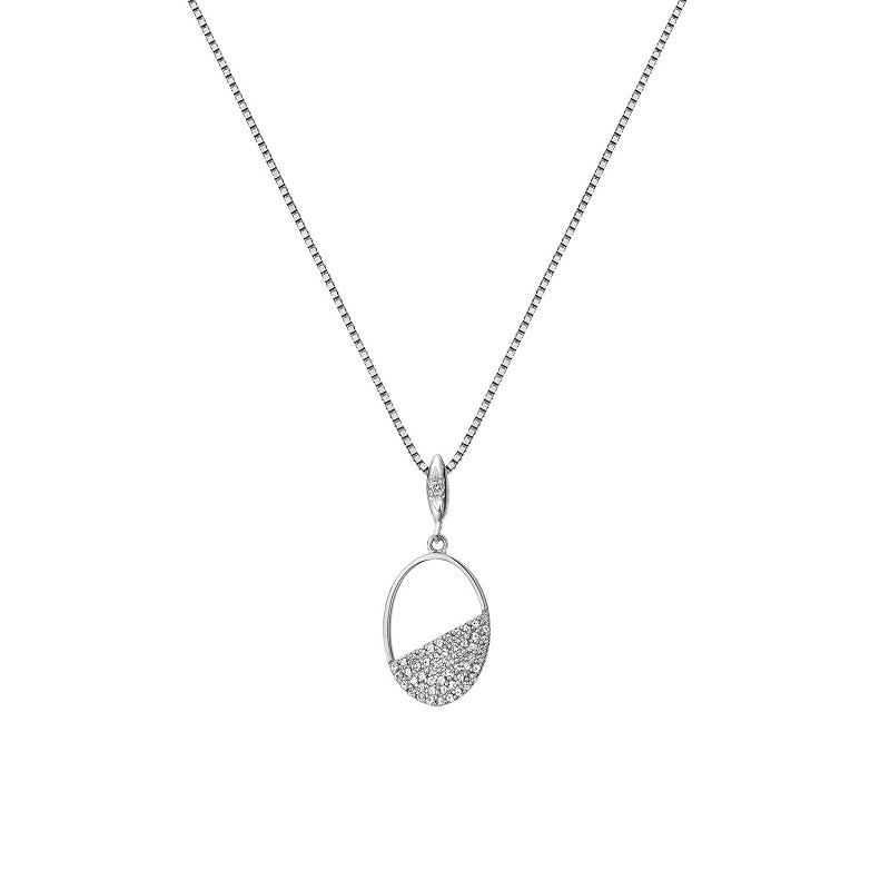Hot Diamonds Horizon Oval Silver Pendant DP767 - Hollins and Hollinshead