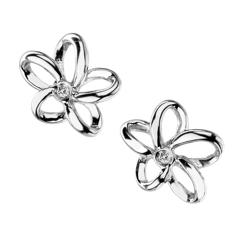 Hot Diamonds Paradise Open Flower Silver Earrings DE248 - Hollins and Hollinshead
