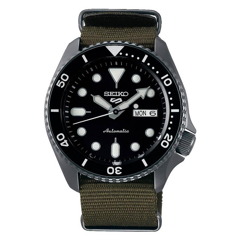 Seiko 5 Automatic Green Mens Canvas Strap Watch SRPD65K4 - Hollins and Hollinshead