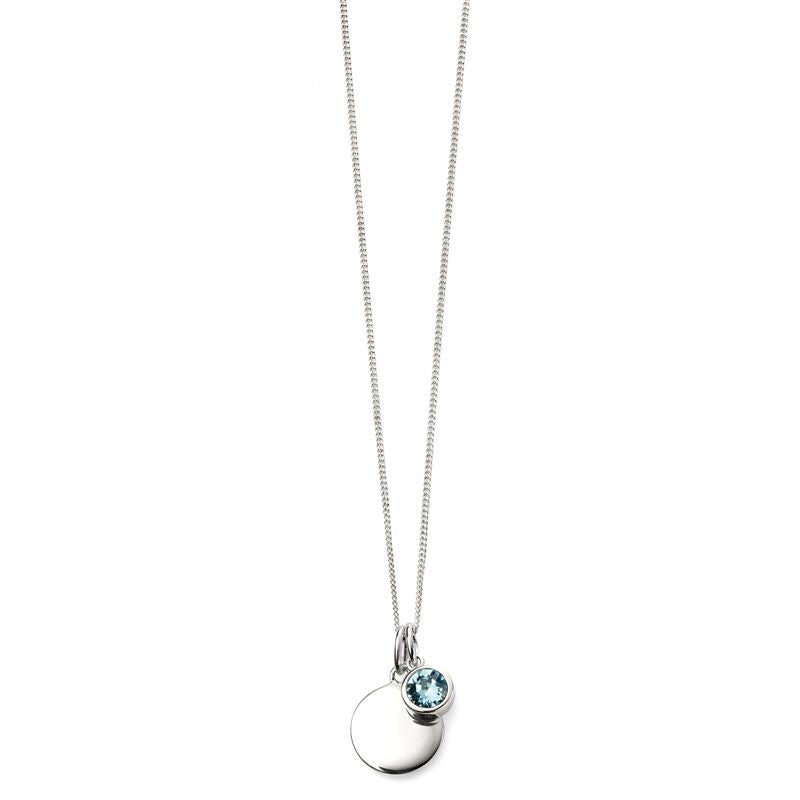 Sterling Silver March Birthstone Necklace P4592 - Hollins and Hollinshead