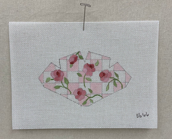 pink and white check with roses