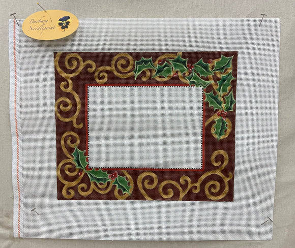 Holly and Gold Scroll Frame