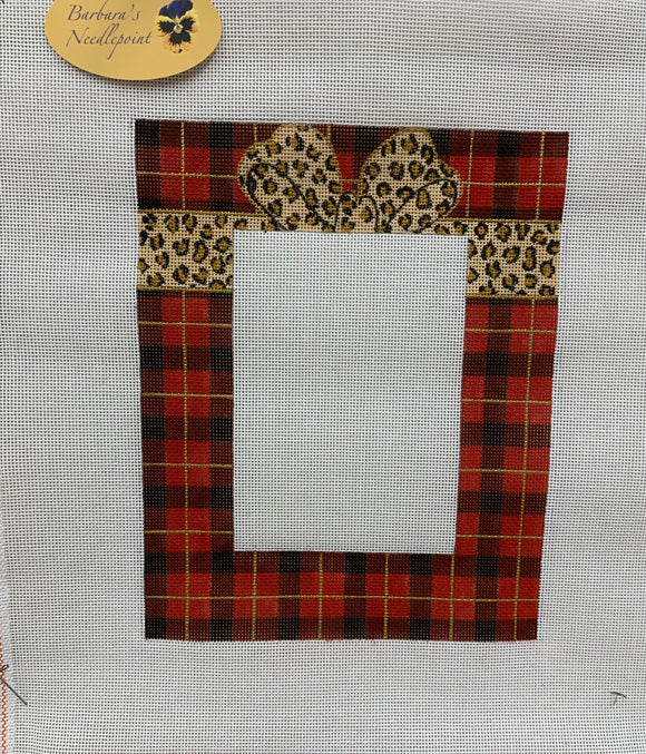 Red Plaid with Leopard Bow Frame