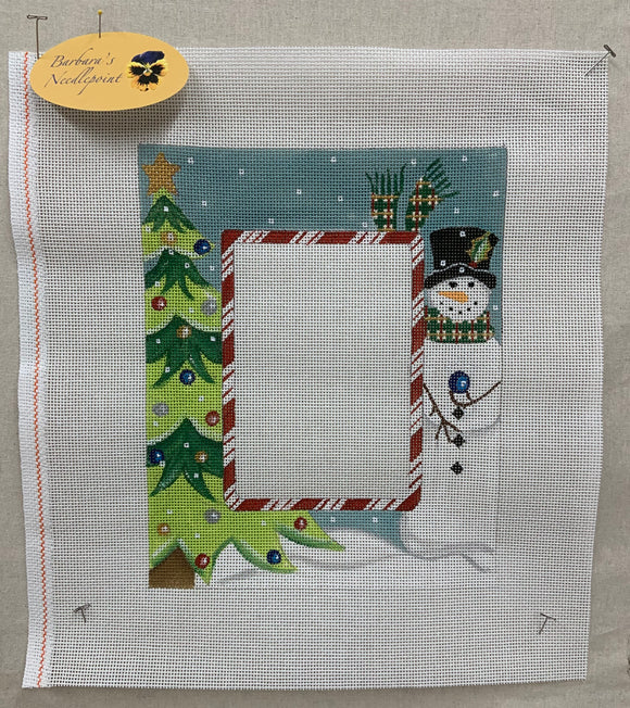 Decorated Spruce and Snowman Frame