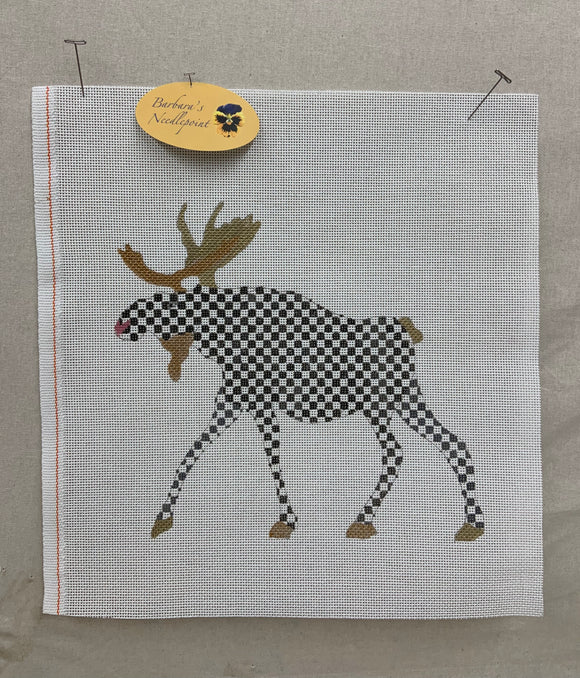 Ann's Black and White Checked Moose