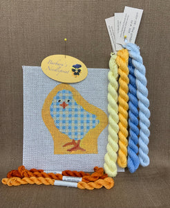 Ann's Blue Plaid Checked Baby Chick with Golden Background KIT