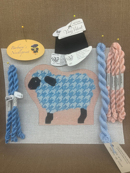 Ann's Sheep KIT with sky blue houndstooth and coral background