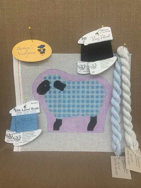Ann's Sheep KIT with sky blue plaid and lilac background