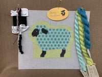 Ann's Sheep KIT with aqua polka dots and green apple background