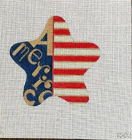 """America"" in Gold with Red and White Stripes July Star"