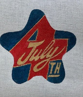 """July 4th"" in Gold Script with Red and Navy July Star"